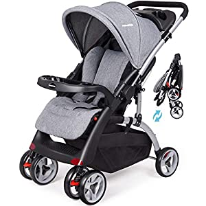 Baby Pushchair from Birth to 25 kg, Portable and Lightweight Stroller with Backrest and Footrest Adjustable, with Reversible Handle and Two Removable Cup Holders,One-Hand Folding Baby Cart (Grey)   9