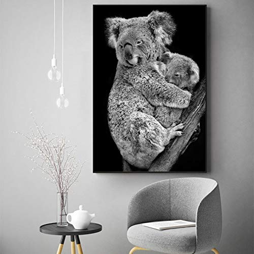 No frame Black and white canvas wild animal poster wall decoration