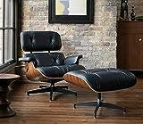 Silla de salón con otomano, Rimdoc Vintage Mid Century marco de madera reclinable estilo réplica, sillón de piel sintética natural con taburete de pie para sala de estar