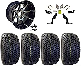 "12"" Banshee Machined/Black Wheels mounted on 23"" Turf (Set of 4) and Jake`s 6"" Club Car DS Spindle Lift Kit - (1981-2003.5 Electric / 1996-2003.5 Gas)"
