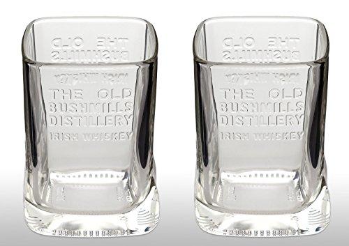 2 x OFFIZIELLER Bushmills Irish Whiskey-Gläser Rare Flasche geformt Whisky Glas