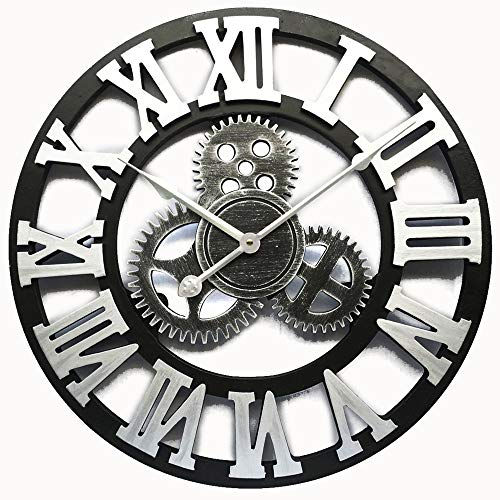 Evursua Vintage Decorative Wall Clock Large 16inch with Industrial Gears Non Ticking Home Decor Clocks,Battery Operated,Metal Effect (Silver)
