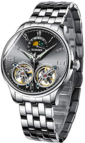 B BINGER Men's Automatic Mechanical Wrist Watch with Dual Balance Wheels Movement (Black)
