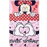 Disney Mickey und Minnie Mouse Lizenzprodukt für Erwachsene & Kinder, Polar-Fleece-Decke, Überwurf, weicher weicher flauschiger Stoff, Minnie Red