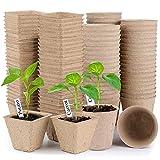 Set di 100 Vasi da Coltivazione Biodegradabili 8 cm Vasi per Torba Vasetti per Semina con 100 Etichette per Piante in Bianco Germinazione Piante Ortaggi