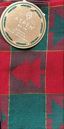 Aspen Home Fabric Napkins Woodblock Style Christmas Trees on a Red and Green Checked Plaid Background with Gold Stripes - Set of 4