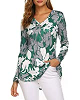 LaLaLa Women's Casual V Neck Print Blouse Long Sleeve Button up Tunic Tops Shirts (B-Green,2XL)