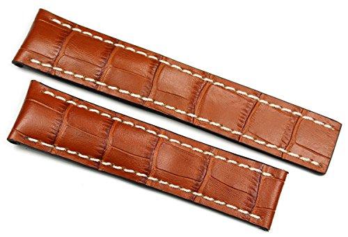 RIOS1931 20 mm/18 mm reloj de pulsera correa de piel auténtica hecha cocodrilo en relieve cinta color marrón coñac para cierre desplegable. Apta para Breitling Alemania imitación cocodrilo.