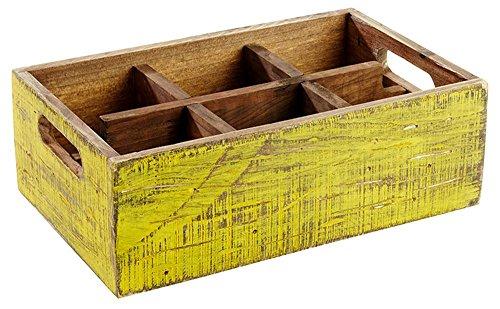 APS Table Caddy–Vintage de de madera de pino, en amarillo, 27x 17x 10cm