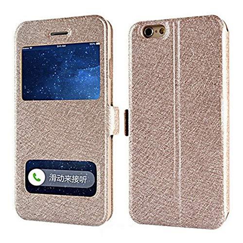 RZL Teléfono móvil Fundas para iPhone 7 8 6s Plus X, de Lujo de la Ventana Delantera del Cuero de FILP Ver Funda para iPhone XR XS Plus MAX 6 5s 4s SE (Color : Gold, Material : For iPhone XS MAX)