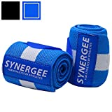 """Synergee Blue Wrist Wraps 18"""" by 3"""" Professional Grade with Thumb Loops"""