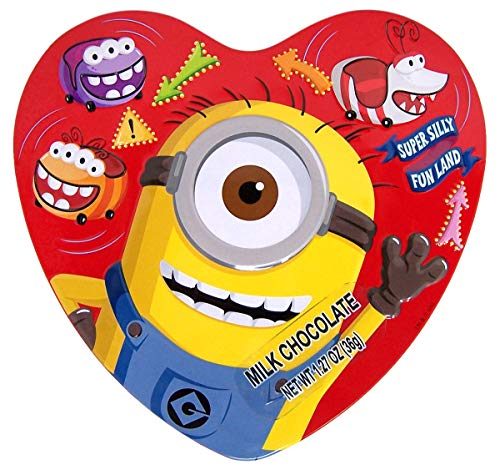 Minions Valentines Day Gift, Heart Tin with Milk Chocolate Candies, 3.38 Ounce