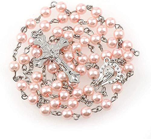 Zaaqio Collar de rosarios de Cuentas de imitación de Rosa de Cristal de 6 mm, Colgantes de de Rosario de Centro de Cruz de Gota de Plata