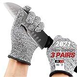 3 Pairs Cut Resistant Gloves,Cut Resistant Food Gloves,Skinning Gloves (Medium-3 pair)