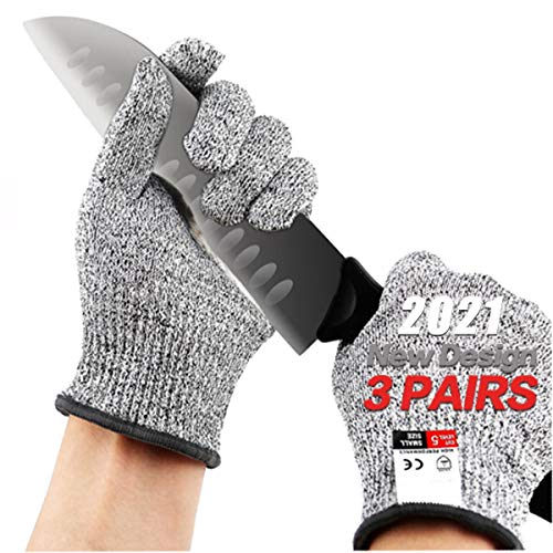Cut Resistant Gloves,3 Pairs Safety Kitchen Cuts Gloves,Skinning Gloves for Oyster Shucking, Fish Fillet Processing, Mandolin Slicing, Meat Cutting and Wood Carving, Food Grade, Safety Work Glove