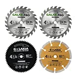 GALAX PRO Saw Blade Set, Pack Of 4 Assorted 60T HSS Metal/24T TCT Wood/Diamond 4-1/2-Inch Circular Saw Blade with 3/8'...