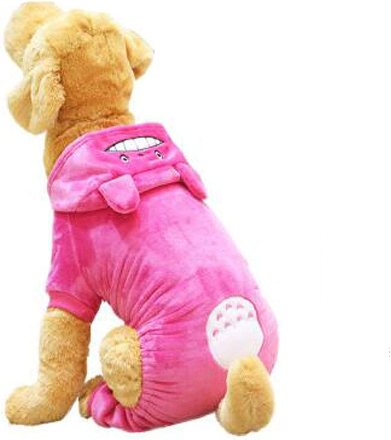 Dog Autumn and Winter Clothes, Large and Medium Dogs, Coral Velvet FourLegged Clothes (color   pink Red, Size   2X)