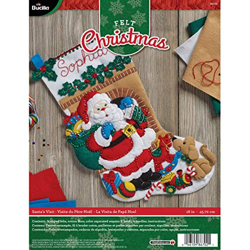 Bucilla Felt Applique Stocking Kit Santa's Visit, Size 18-Inch
