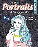 Coloriage Portraits - 2 livres en 1 – Nuit: Livre de Coloriage pour...