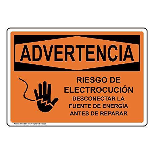 Warning Riesgo De Electrocución Desconectar La Fuente De Energía Antes De Reparar OSHA Safety Sign, 14x10 in. Aluminum by ComplianceSigns
