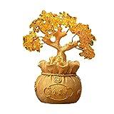 Escultura Ornamentos Fortuna árbol resina escultura cristal árbol hojas gemas dinero bonsai feng shui pacífico piedra fortuna ornamento decoración casera escritorio de oficina Decoración de Estatua