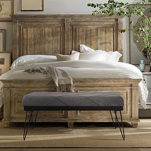 Modern Tufted Upholstered Gray Velvet Square Rectangle Entryway Ottoman Bed Bench with Black Metal Frame - Bedroom and Hallway