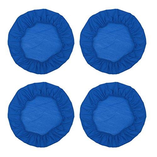 Sharplace 4 Pz Coprisedile Elasticizzato Fodera Cuscino Rotonda per Sedia Arredamento Interno - Blu