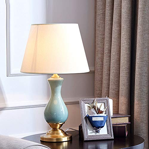 XinMeiMaoYi Lámpara de tela de cerámica de American Country, creativa, retro, base de cobre, para café, lámpara de estudio, 1 bombilla E27 (30 x 50 cm)