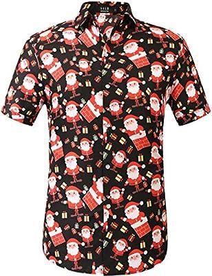 SSLR Men's Santa Claus Holiday Party Hawaiian Ugly Christmas Shirt