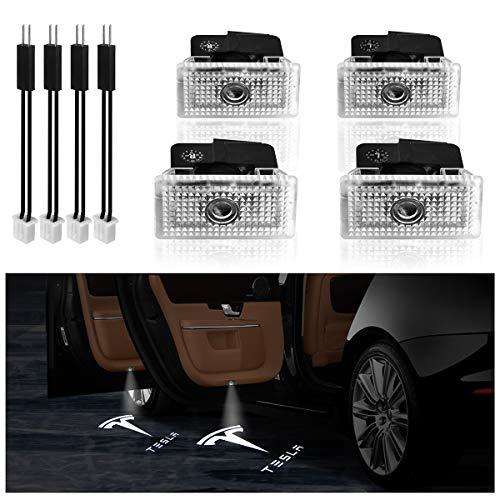 Türbeleuchtung Autotür for KFZ Model 3 Model S Model X Model Y,KFZMAN Autotür Logo Licht Willkommenslicht Einstiegsbeleuchtung, 4er Pack