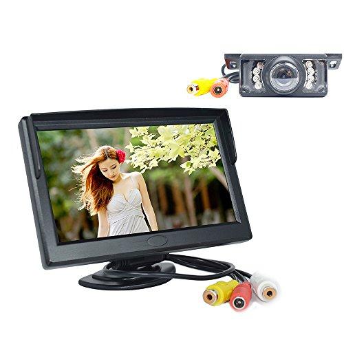 BW 12,7 cm Écran LCD TFT Moniteur et vision nocturne vue arrière de voiture caméra arrière secours + LED voiture arrière vue inversion caméra vidéo étanche Couleur Kits