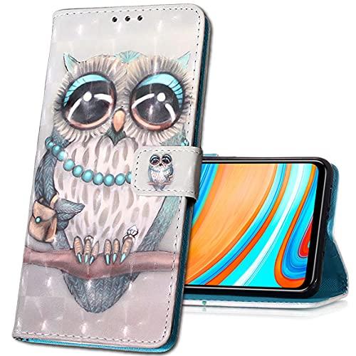 MRSTER LG V40 ThinQ Handytasche, Leder Schutzhülle Brieftasche Hülle Flip Hülle 3D Muster Cover Stylish PU Tasche Schutzhülle Handyhüllen für LG V40 ThinQ. YB Owl