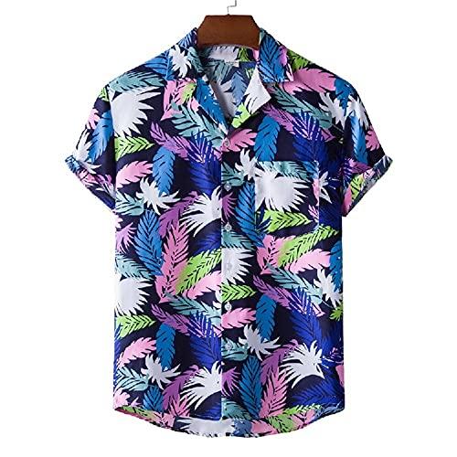 Henley Camisa Hombre Verano Moda Estampado Regular Fit Modernos Hombre Deportiva Camisa Cuello V Manga Corta Hawaiana Camisa Suelta Causal Secado Rápido Hombre Playa Shirt C-XH36 3XL
