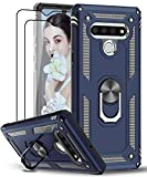 LeYi Compatible for LG Stylo 6 Case with [2 Pack] Tempered Glass Screen Protector, [Military-Grade] Armor Protective Case with Magnetic Ring Kickstand for LG Stylo 6, Blue