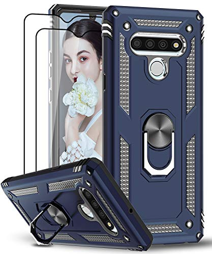 LeYi LG Stylo 6 Case with Tempered Glass Screen Protector [2 Pack], [Military Grade] Armor Defender Protective Phone Case with Magnetic Car Mount Ring Kickstand for LG Stylo 6 (Dark Blue)