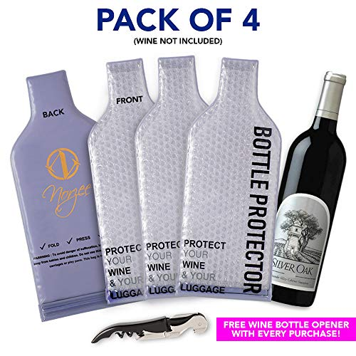4 Pack Reusable Bottle Protector, Travel Bag for Luggage, Leak Proof Skins, Wine Sleeves For Suitecase, Wine Shipping Protector