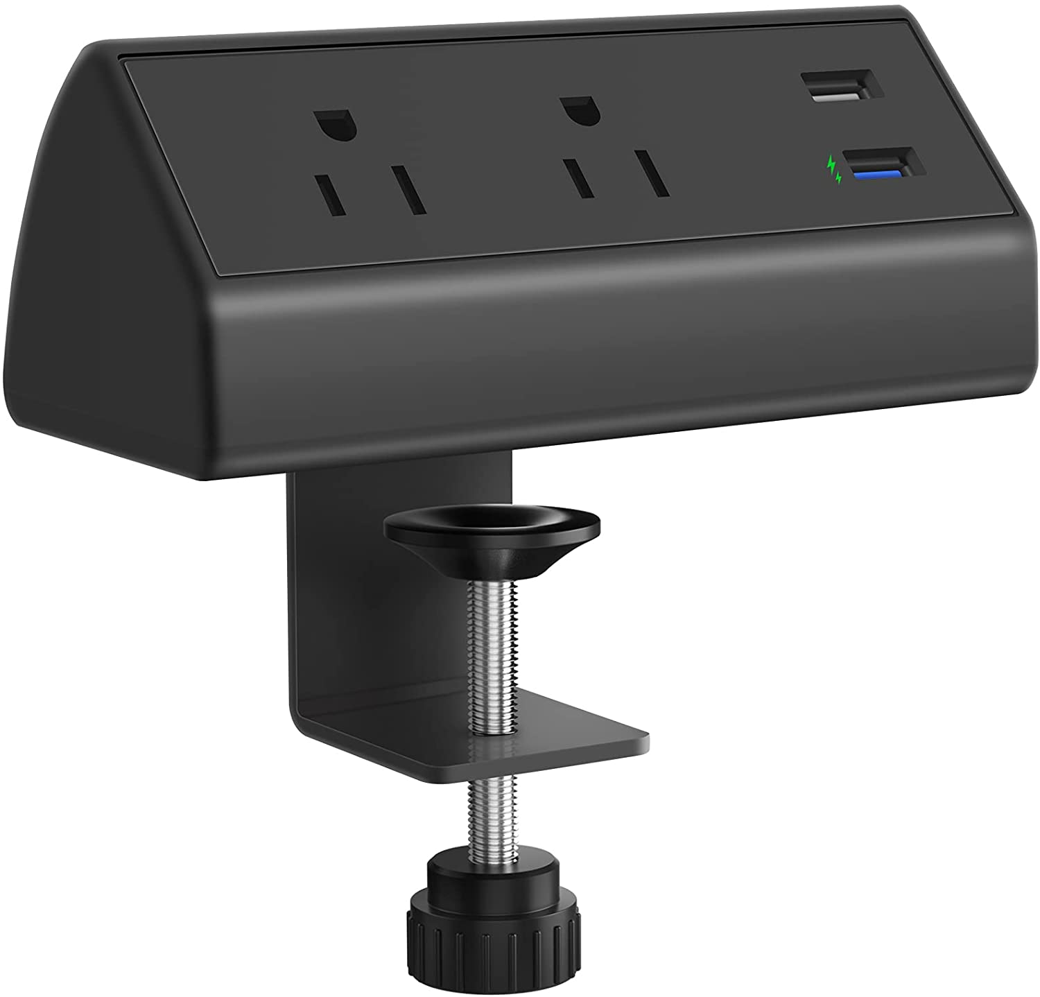 CCCEI Fast Charging Desk Clamp Power Strip, QC3.0 USB Port, 500J Surge Protector on Desktop Mount Power Strip, Fit 1.6 inch Tabletop Edge Thick. (Black).