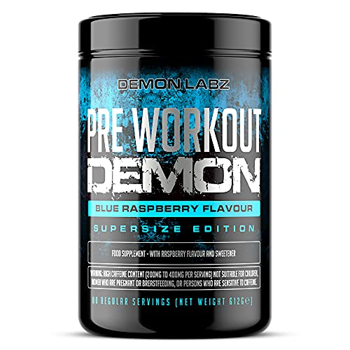 Pre Workout Demon (Blue Raspberry Flavour) - Hardcore pre-Workout Supplement with Creatine, Caffeine, Beta-Alanine and Glutamine (Supersize - 640 Grams   80 Servings)