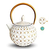 IAXSEE Cast Iron Teapot,Japanese Tea Kettle with Stainless Steel Infuser, Elegant Design Teapot Coated with Enameled Interior for 30oz (900 ml White)
