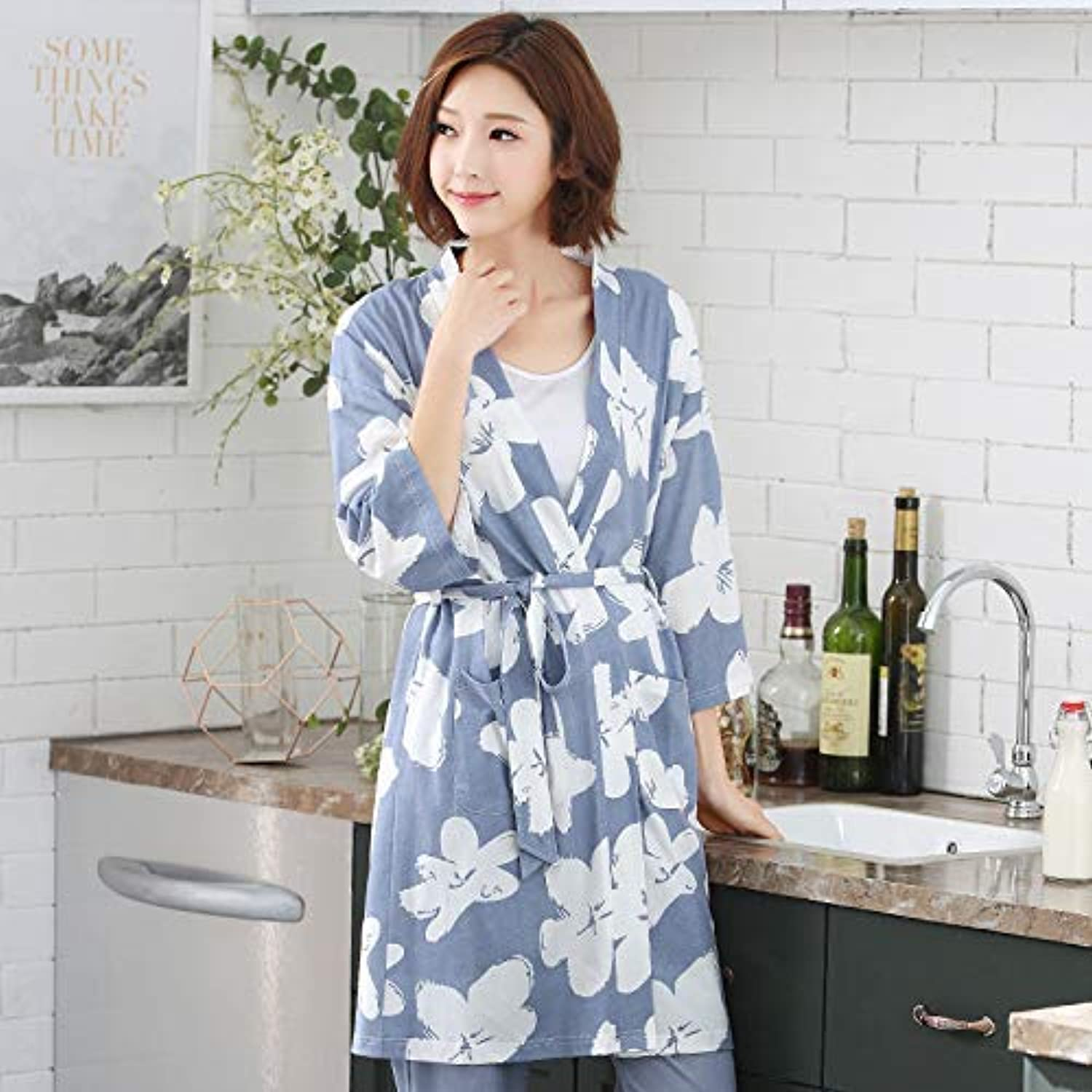 DALAI Pajamas Ladies Summer Thin Section SevenPoint Sleeve Trousers Modal Home Service Spring and Autumn Long Paragraph Robe Suit (color   bluee, Size   XXL) (color   bluee, Size   XXLarge)