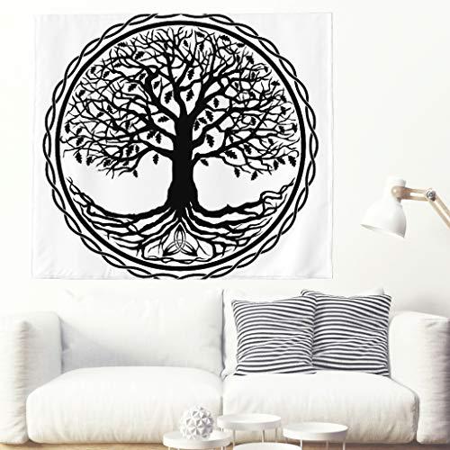 Tapiz psicodélico de un solo color con diseño de árbol de la vida, étnico, negro, árbol de la vida, círculo, tatuaje, mural secreto, árbol, energía, pared, decoración de pared 200x150cm blanco