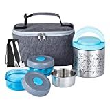 Lille Home Lunch Box Set, An Vacuum Insulated Bento/Snack Box Keeping Food Warm for 4-6 Hours, Two...