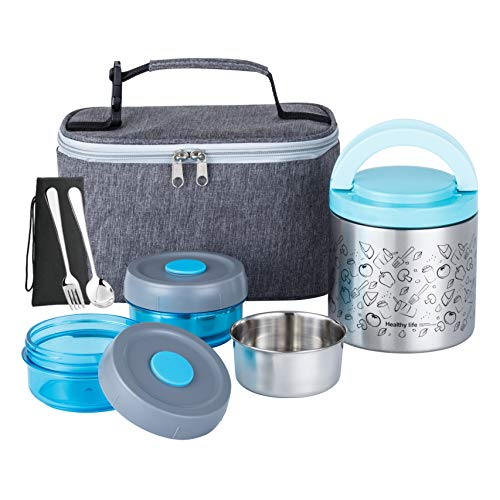 Lille Home Lunch Box Set, An Vacuum Insulated Bento/Snack Box Keeping Food Warm for 4-6 Hours, Two BPA-Free Food Containers, A Lunch Bag, A Portable Cutlery Set, Smart Diet, Weight Control (Blue)