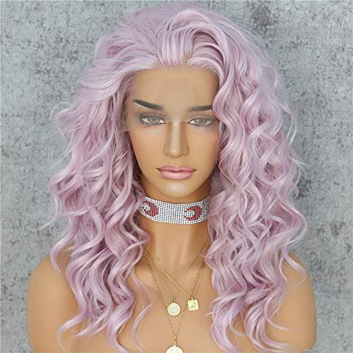 Sapphirewigs Light Purple Pink Color Curly No-Tangle Glueless Women Party Daily Makeup Cosplay Party Women Fashion Synthetic Lace Front Wigs