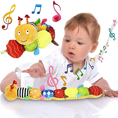 FIOLOM Stuffed Caterpillar Baby Toys Musical Soft Infant Toy Texture Sensory Plush Toys Crinkle Rattle with Ring Bell Ruler Design for Crawling Babies Boys Girls Newborn Preschool Toddler 3+ Months