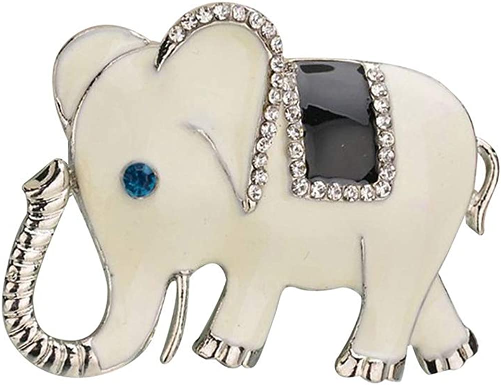 Walbest Brooch Pins for Women, Fashion Elephant Rhinestone Inlaid Brooch Pin Clothes Lapel Badge Jewelry Gift (Blue)
