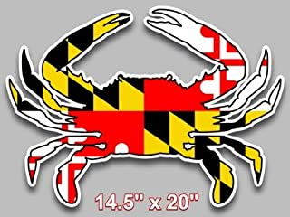 Maryland flag blue crab decal large 14.5