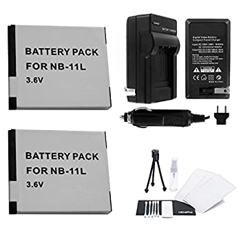NB-11L / NB-11LH Battery 2-Pack Bundle with Rapid Travel Charger and UltraPro Accessory Kit for Select Canon Cameras Including PowerShot A2300 IS A2400 IS A3400 IS A4000 IS ELPH 110HS and ELPH 320HS