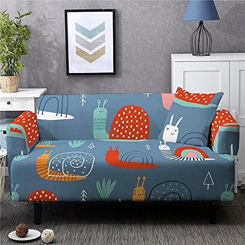 Funda Sofas 2 y 3 Plazas Oruga De Dibujos Animados Azul Fundas para Sofa con Diseño Universal,Cubre Sofa Ajustables,Fundas Sofa Elasticas,Funda de Sofa Chaise Longue,Protector Cubierta para Sofá