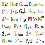 DECOWALL DW-1701S Großbuchstaben Alphabet ABC mit Bildern Kinder Wandaufkleber Wandaufkleber abziehen und aufkleben entfernbare Wandaufkleber für Kinderzimmer Schlafzimmer Wohnzimmer (mittel)